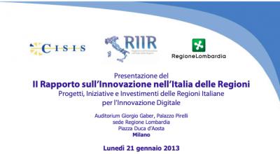 Rapporto Innovazione nell'Italia delle Regioni 2012